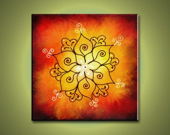 Rangoli Art - Abstract Print Mounted and Ready to be hung.  Yoga and Meditation Art. Free Shipping inside US.