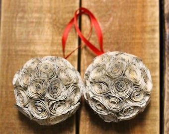 Set of 2 Book Christmas Ornaments // Paper Rose Ornaments // Book Page Hand Rolled Rose Ornaments // Tree Ornament // Handmade Ornament Gift