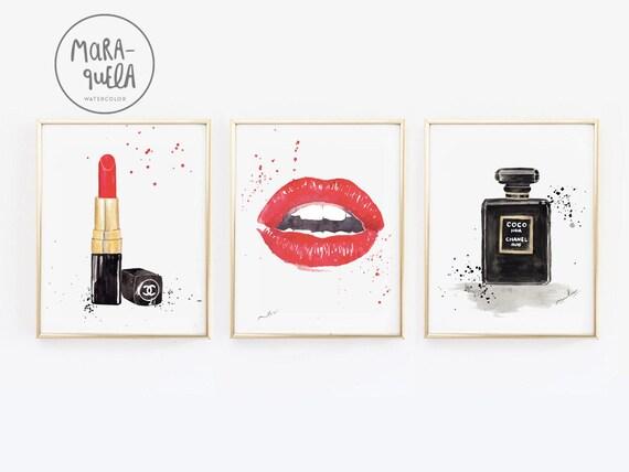 DISCOUNT Fashion Black and Red SET: Red lips, Coco noir bottle, chanel lipstick. Original painting set woman, makeup corner fashion print