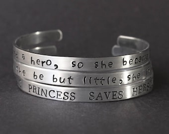 This Princess Saves Herself Bracelet, She Needed a Hero so She Became One, And Though She Be but Little She is Fierce - Girl Power Feminist