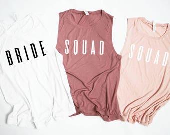 Squad Tanks.Bride Bridal Shower Tanks.Bridesmaid Tanks.Bachelorette Party.Team Bride.Engagement.Wedding.Gym Shirt Yoga Fitness Tank