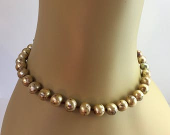 Unusual Speckled Pearl Necklace