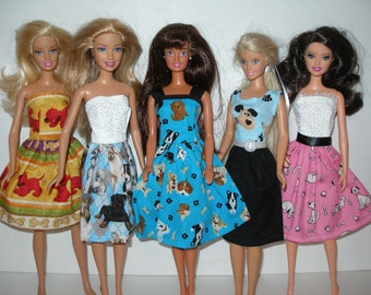 Handmade clothes for Barbie - mixed lot of 5 puppy print dresses