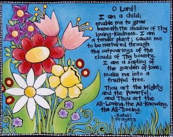 art print of Bahai Prayer for children