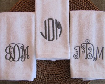 Monogram (Choose Towel Color - Thread Color - Font Style) - Fingertip Velour Bathroom Towel 11x18 - JD Designs