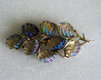 CORO Branch Pin With Irridescent Leaves. AB Effect Leaf Brooch. Color Changing Jewelry.