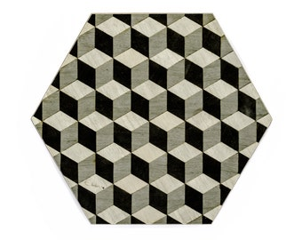6 Grey Placemats Gray Melamine Heat Resistant 160 Savile Row Hexagon Geometric Tablemats Fathers day gift anniversary gifts FREE UK Shipping
