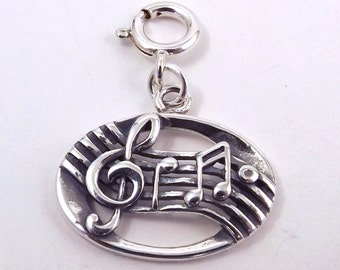 Sterling Silver Treble Clef & Music Notes Charm - Fits Both Traditional and European Charm Bracelets - 2333