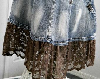 Ruffled taupe lace mermaid jean skirt metallic mocha embellished Renaissance Denim Couture fairy goddess belle bohémienne