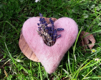 Pink wool felt Heart with lavender