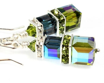 Swarovski Crystal Cube Earrings, Sterling Silver, Olivine AB and Montana Blue AB, Bridal Earring, Wedding Accessories, Bridesmaid Earring