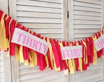 30th Birthday Party Decor Banner, thirty flirty and thriving banner, thirtieth birthday party decorations, thirteen going on thirty decor