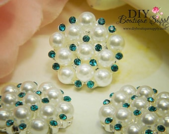 Pearl & Rhinestone buttons AQUA BLUE Flatback Embellishments - Bridal Supplies flower centers Headbands crystal bouquet  5 pcs 23mm 196047