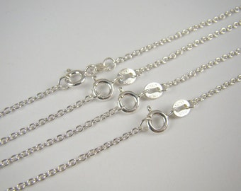 925 Sterling Silver Chain Necklaces Bulk 18 inches 65% Off , 5 Finished Chain Link Necklaces , Round Cable Chain Necklace , Wholesale Chains