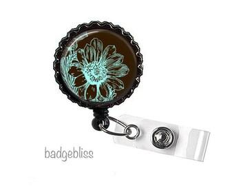 Botanical print id badge reel, bottlecap badge reel