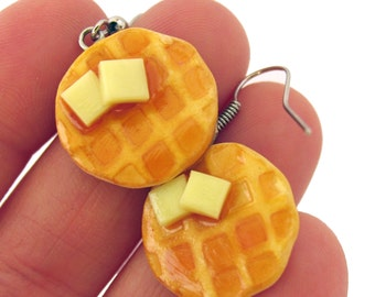 Waffle Earrings, Waffle Jewelry, food jewelry, miniature food, breakfast earrings, breakfast jewelry, maple syrup, buttered waffles