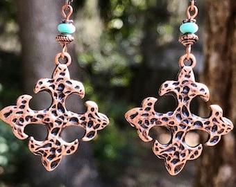 Turquoise Earrings, Boho Earrings, Bohemian Earrings, Rustic Earrings, Copper Earrings, Ethnic Earrings, Boho Jewelry, Statement Earrings