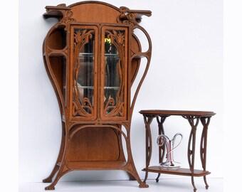 Art Nouveau cabinet kit 1:12,  French armoire, dollhouse miniature