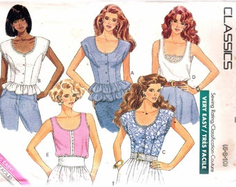 "Vintage 1988 Butterick 6469 Misses Tops Sewing Pattern Size 6 - 8 - 10 Bust 30 1/2"", 31 1/2"", 32 1/2'"