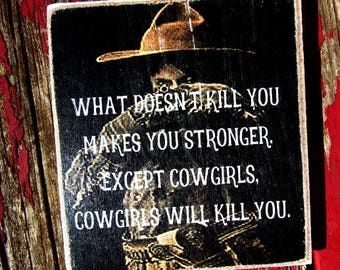 """funny cowgirl magnet 2510 vintage 4x4"""" kitchen magnet funny gift refrigerator magnet humorous"""