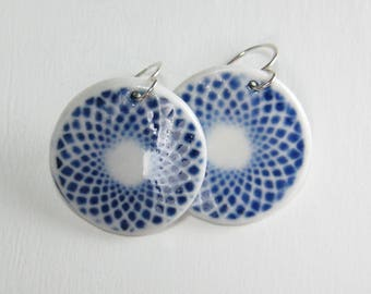 Ceramic Earring Blue and White Spirograph Porcelain Earring Medallion With Hand Forged Sterling Silver Earwires