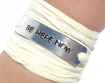 Be Here Now Silk Wrap Bracelet Yoga Words Inspirational Jewelry With Meaning Engraved Life Quotes Healing Yogi Gift For Her Under 50 C17