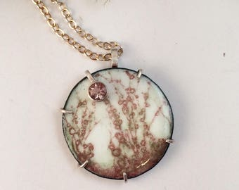 Pink and Green Microscopic Fungi Enamel Pendant with Oregon Sunstone