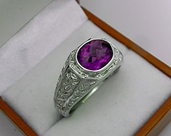 AAAA Purple Amethyst 10x8mm Checkerboard cut 2.35 Carats Heavy 14K White gold Antique Vintage  styled MAN'S ring 15 grams. 2305(2)