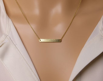 Thin horizontal bar Necklace, silver bar Necklace,gift idea,Plain gold bar necklace, Christmas present,Holiday gift,layering necklace