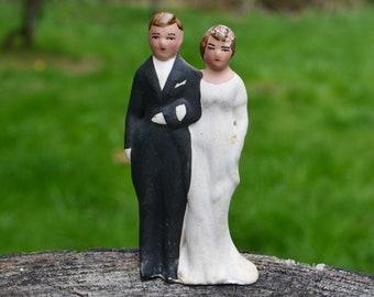 1940s Chalkware Wedding Cake Topper, Bride & Groom