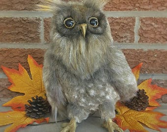 Handmade OOAK Fake Fur Cute Owl Stuffed Animal Art Doll Plush Sculpture