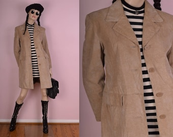 90s Tan Reptile Pattern Suede Coat/ Medium/ 1990s