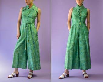 70s Madonna Fashions | Manila Philippines | green silk palazzo jumpsuit | size XS