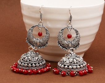 31.53 Grams Alloy Oxidised Handmade Jhumki Earrings With Artificial Coral Stone