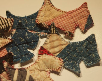 ornaments scottie dogs vintage cutter quilted ornaments abstract scotties decoration folk blues plaids textiles home decor holiday