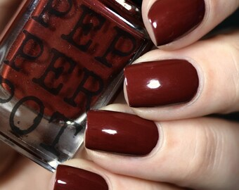 "Deep Red Oxblood Red Nail Polish Gold Shimmer ""Super Senior"" Gift For Her Bath And Beauty"