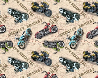 Blank Quilting - Fabric - American Dream - Motorcycles All Over