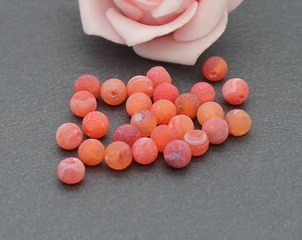 10 frosted 6 mm orange color PG130 effect crackled Agate beads
