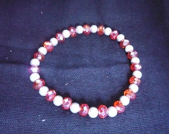 Red Crystal and Sterling Silver Bracelet on elastic