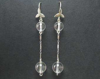 Pools of Light Earrings // Silver Rock Crystal Drop Earrings // Sterling Silver Dangle Earrings
