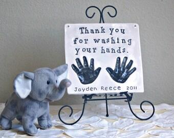Hand Print Art - Baby Keepsake Hand Prints - Custom Nursery Baby Prints  - Nursery Room Decor - Custom Baby Print - Newborn Nursery Art