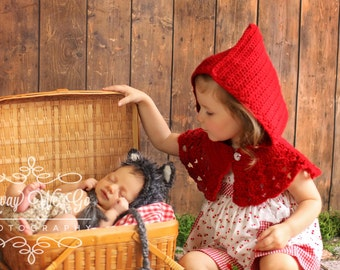 Sibling Photo Outfit - Red Riding Hood Capelet & Wolf Bonnet - Made to Order in 3-4 Weeks - Sibling Halloween Costumes - Twin Photo Prop -