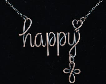 Inspirational Word necklace, Forever Happy necklace, infinity cross necklace, Personalized word Necklace, Custom word Necklace, Wire word