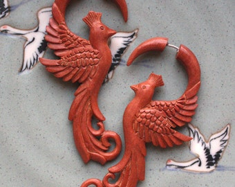 Fake Gauge Earrings - Hand Carved Tan Saba Wood - PHOENIX - Elegant Bird Design