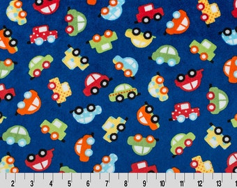 MINKY - Honk! Cars on Royal Blue from Shannon Fabric's Robert Kaufman Cuddle Collection by Ann Kelle