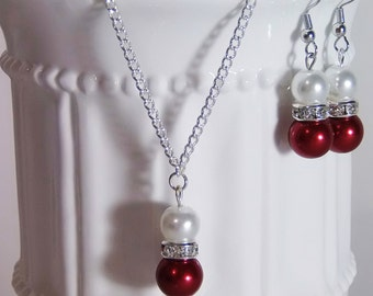 Bridesmaid Pearl White and Red Jewelry Set, Pearl Necklace, Pearl Earrings, Bridesmaid Jewelry, Bridesmaid Gift, Pick Your Own Color