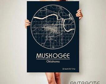 MUSKOGEE Oklahoma CANVAS Map Muskogee Oklahoma Poster City Map Muskogee Oklahoma Art Print Muskogee Oklahoma