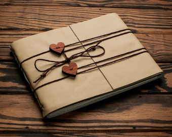 Leather Cream Journal or Leather Sketchbook, Dual Heart Closure, Large Sized, Beige Leather Handbound Photo Album