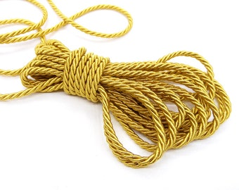 3mm Gold Satin Twisted Cord, Wrapped Thread Cord, Polyester Braided Cord, Rope Cord - 3 Yards/ 2.75m approx.(1 piece)