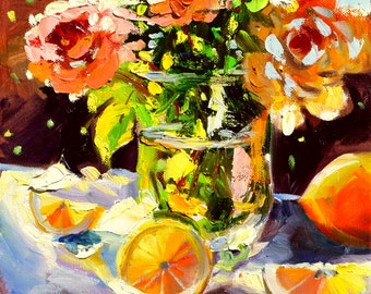 YELLOW ROSES Art Print of Original Oil Painting, Rose still life